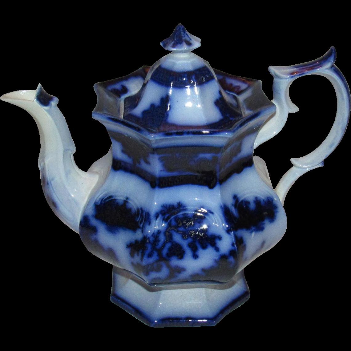 Jumbo Size Chapoo-Wedgwood Flow Blue Ironstone China Teapot.
