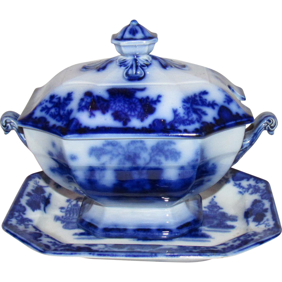 Scinde Alcock Flow Blue Ironstone China Sauce Tureen & Tray