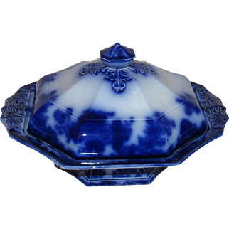 Scinde Alcock Flow Blue Ironstone China Covered Vegetable Dish