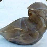 Caramel Slag Wood Duck figurine Imperial Glass