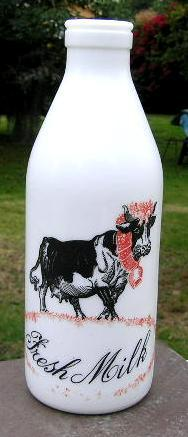 Milk Glass Fresh Milk Bottle With Cow E Giciu From