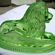 Lion John Derbyshire 1874 Green Yellow Uranium Pressed Glass