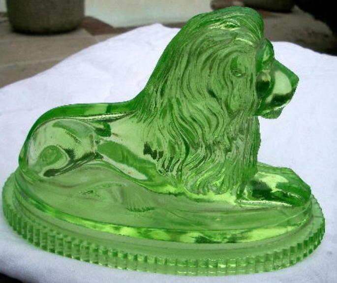 Lion John Derbyshire 1874 Green Yellow Uranium Pressed Glass