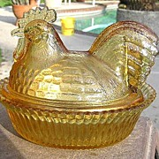 Amber Rooster Covered Dish Kemple Glass
