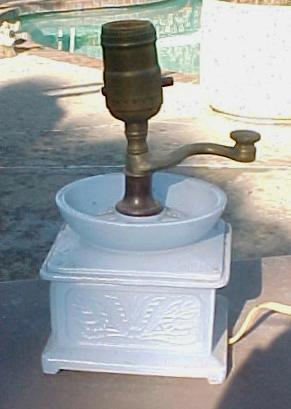 Blue Coffee Grinder Lamp Depression Era
