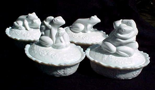 4 White Milk Glass Frog Covered Dishes LIMITED