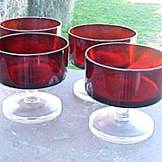 3 Ruby Footed Sherbert Glasses