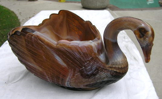Caramel Slag large Swan Open Back Candy Dish Imperial