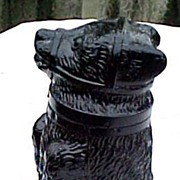 Black Milk Glass Bear Pomade Jar 1850 Sandwich Glass