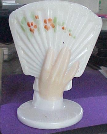 Milk Glass Hand & Fan Match holder
