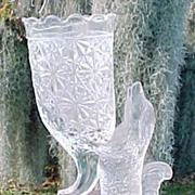 Crystal Dog Vase EAPG 1890's Columbia Glass