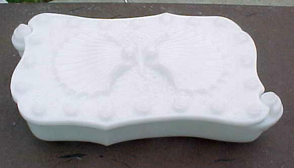Milk Glass Shell Divided Box Imperial Glass