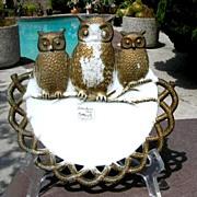 Milk Glass 3 Owl's Plate Westmoreland Specialty 1901