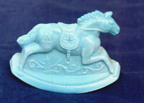 Blue Milk Glass Rocking Horse Guernsey Glass 1982