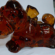 Amber Glass Bulldog Figurine Imperial Glass  Commemorative 1983