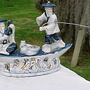 Cobalt Blue Porcelain Japanese Fishing Boat & Fish