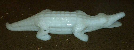 Vallerysthal Milk Glass Alligator Covered Dish RARE 1880's