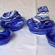 Four Cobalt Blue Slag Frog Covered Dishes UNUSUAL
