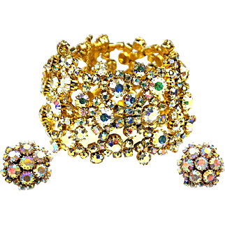 ALICE CAVINESS Lacy Aurora Borealis Crystals Wide Bracelet and Clip Earrings Set