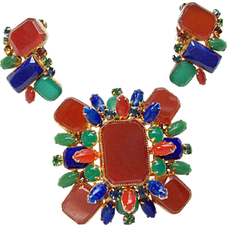 ALICE CAVINESS Simulated Carnelian, Jade and Lapis Large Layered Maltese Cross Pin and Clip Earrings Set
