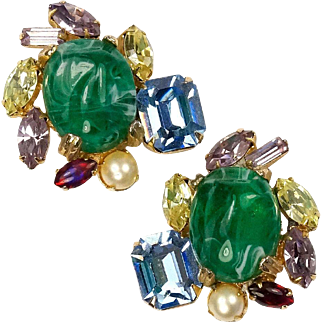 ALICE CAVINESS Gemset Emerald Cabochon, Multi-color Crystal, Faux Pearl Clip Earrings