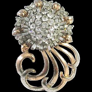 PENNINO Sterling Diamante Crystal Huge Deco 'Sunburst' Floral Pin
