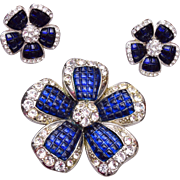 AVON Invisibly Set Sapphire Blue and Diamante Flower Pin and Clip Earrings Set