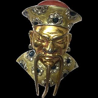 MB BOUCHER Rare Metallic Enamel Chinese Mandarin Clip Pin