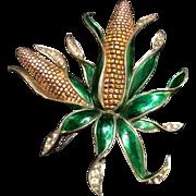 MB BOUCHER Huge Metallic Enamel 'Corns on the Cob' Pin