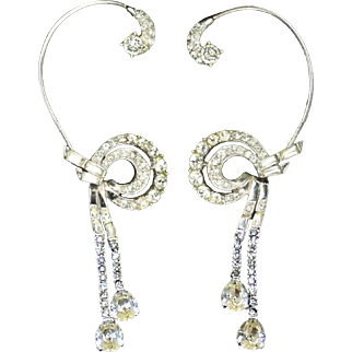BOUCHER Pave, Baguette, and Teardrop Rhinestones Over the Ear/Wrap Earrings