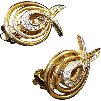 BOUCHER Gold and Pave 'Wings' Clip Earrings