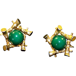 BOUCHER Oriental Simulated Jade and Bamboo Motif Clip Earrings