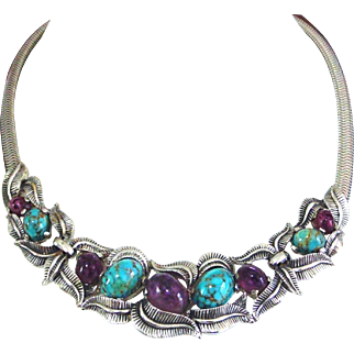 BOUCHER Silvertone Leaf Swirls, Amethyst and Turquoise Cabochons Necklace