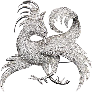 Rare MB BOUCHER Large Phoenix/Gryphon/Griffin Pave and Baguette Pin
