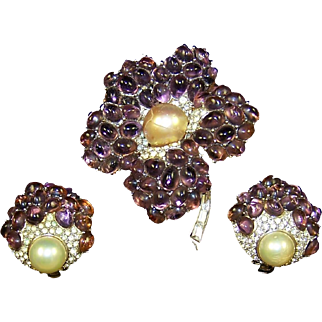 Boucher Pave, Pearl and Amethyst Quartz Cabochons Flower Pin and Clip Earrings Set