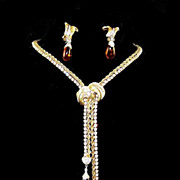 BOUCHER Diamante and Amber Pendants Drop Adjustable Lariat Necklace and Clip Earrings Set