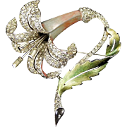 MB BOUCHER Metallic Enamel and Pave Rhinestone Lily Pin