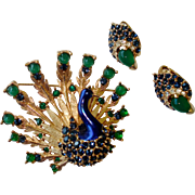 BOUCHER Metallic Enamel, Emerald Green Cabochons, Sapphire Blue Rhinestones Peacock Pin and Clip Earrings Set