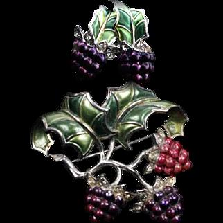 MB BOUCHER Metallic Enameled Raspberries Pin and Screwback Earrings Set