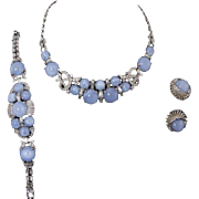 BOUCHER Blue Moonstone, Pave and Baguettes Necklace, Bracelet, and Clip Earrings Set