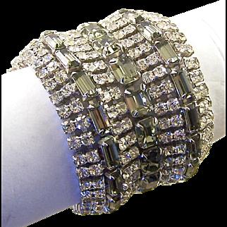 Diamante and 'Black Diamond' Super Wide, Chunky 11-Row Bracelet
