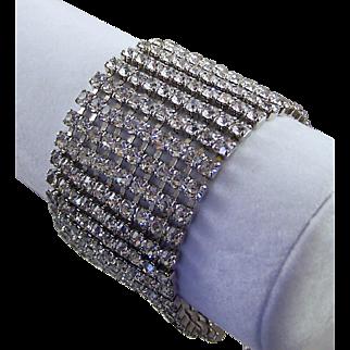 Blinding 10-Row Diamante Wide Bracelet
