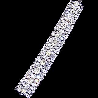 Unsigned Designer 5-Row Diamante Rhinestone Bracelet