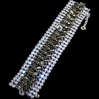 Diamante and 'Black Diamond' Super Wide 6-Row Bracelet