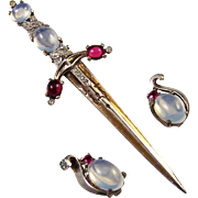 TRIFARI 'Alfred Philippe' STERLING Moonstone and Ruby Red Cabochons Pave Rhinestones Dagger/Sword Pin and Clip Earrings Set