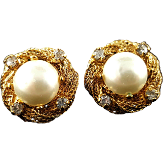 CHANEL France 1996 Imitation Pearl and Crystal Clip Earrings