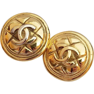 CHANEL, France Large Quilted CC Logo Button Clip Earrings