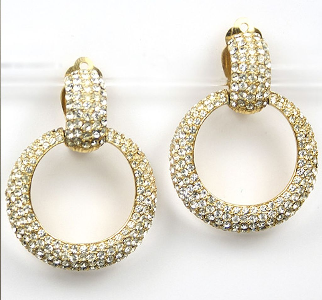 Ciner Golden Pave Hoop Pendant Clip Earrings From Sharons