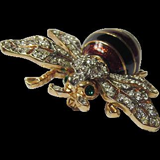 CINER Enamel and Crystal Bee Pin