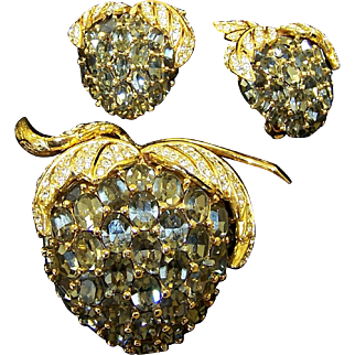 CINER Huge Black Diamond and Pave Fruit Pin and Clip Earrings